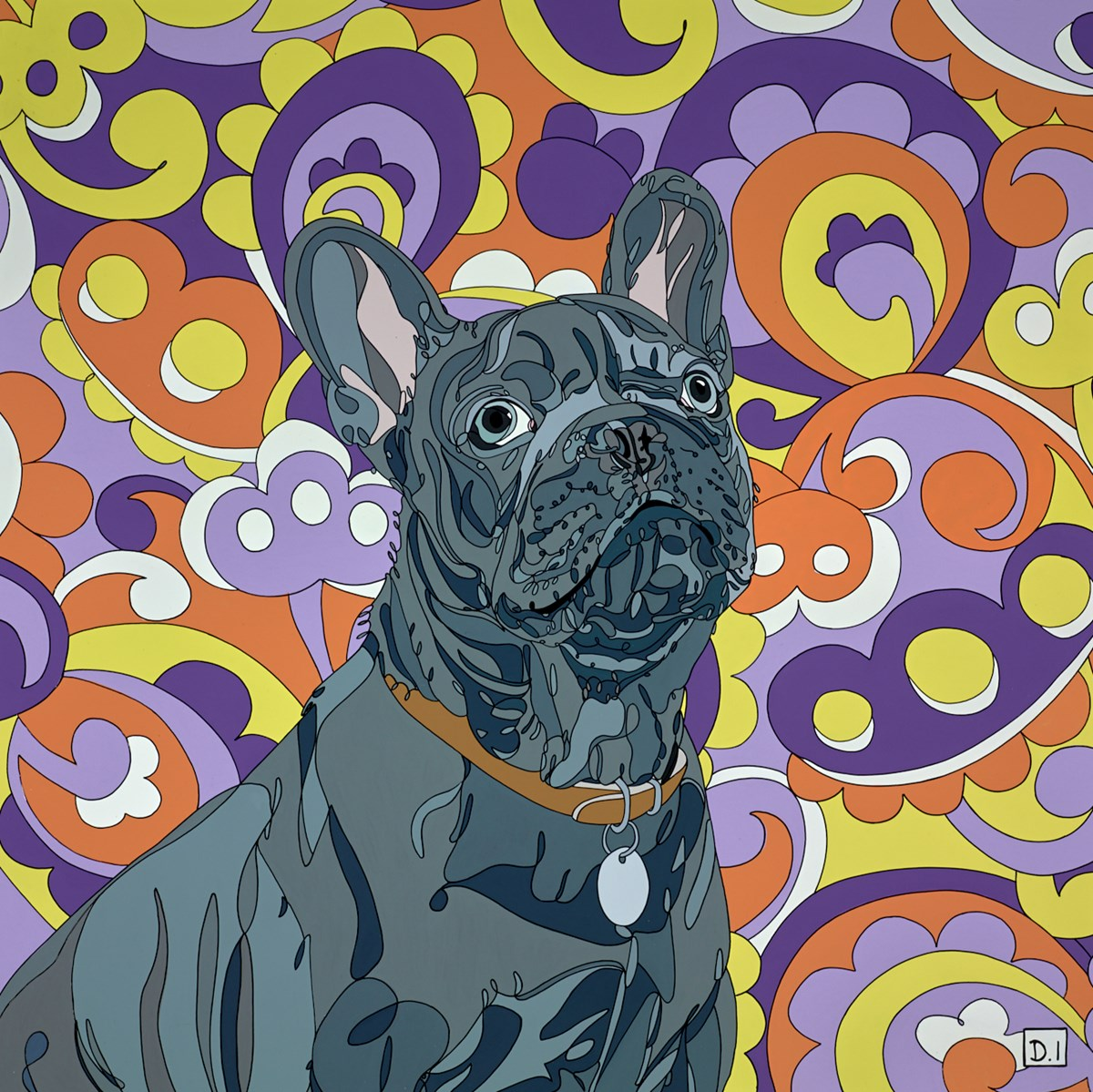 French Bulldog on Paisley Background by Dylan Izaak -  sized 28x28 inches. Available from Whitewall Galleries